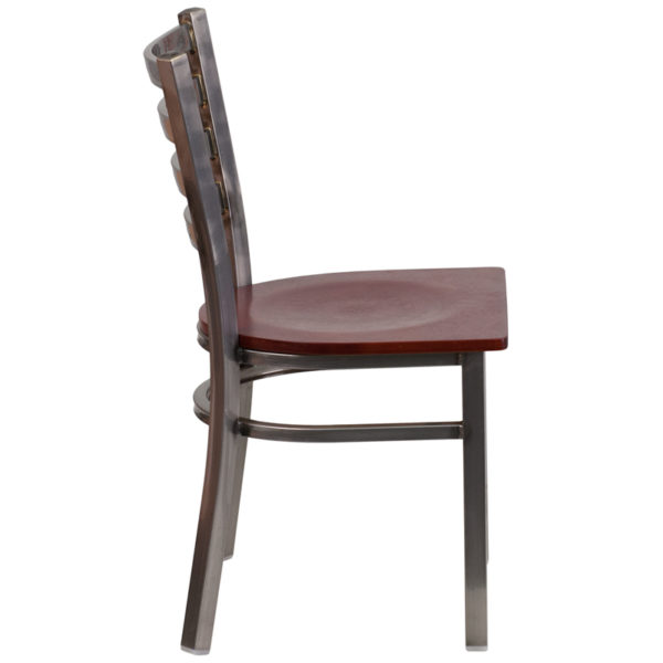 Lowest Price HERCULES Series Clear Coated Ladder Back Metal Restaurant Chair - Mahogany Wood Seat