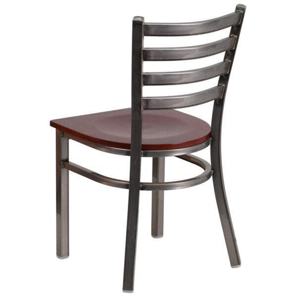 Metal Dining Chair Clear Ladder Chair-Mah Seat