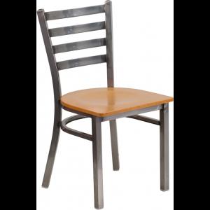 Wholesale HERCULES Series Clear Coated Ladder Back Metal Restaurant Chair - Natural Wood Seat