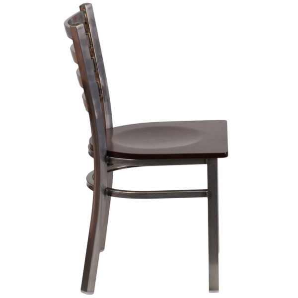 Lowest Price HERCULES Series Clear Coated Ladder Back Metal Restaurant Chair - Walnut Wood Seat