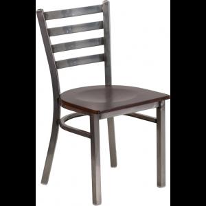 Wholesale HERCULES Series Clear Coated Ladder Back Metal Restaurant Chair - Walnut Wood Seat