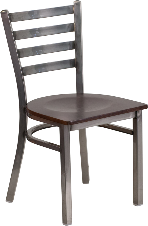 Wholesale HERCULES Series Clear Coated Ladder Back Metal Restaurant Chair - Walnut Wood Seat