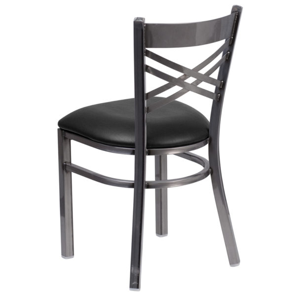 Metal Dining Chair Clear X Chair-Black Seat