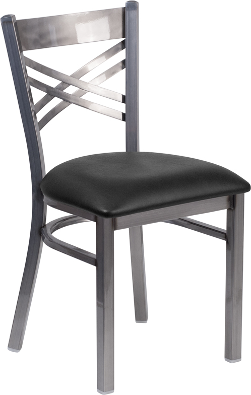 Wholesale HERCULES Series Clear Coated ''X'' Back Metal Restaurant Chair - Black Vinyl Seat