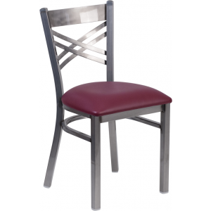 Wholesale HERCULES Series Clear Coated ''X'' Back Metal Restaurant Chair - Burgundy Vinyl Seat