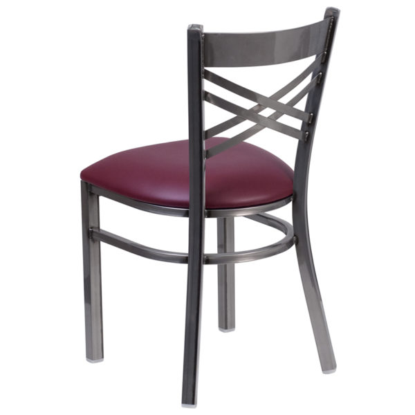 Metal Dining Chair Clear X Chair-Burg Seat