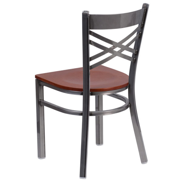 Metal Dining Chair Clear X Chair-Cherry Seat