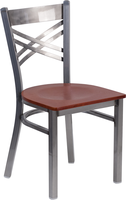 Wholesale HERCULES Series Clear Coated ''X'' Back Metal Restaurant Chair - Cherry Wood Seat