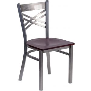 Wholesale HERCULES Series Clear Coated ''X'' Back Metal Restaurant Chair - Mahogany Wood Seat