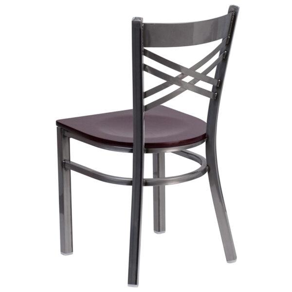 Metal Dining Chair Clear X Chair-Mah Seat