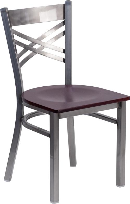 Wholesale HERCULES Series Clear Coated ''X'' Back Metal Restaurant Chair - Mahogany Wood Seat