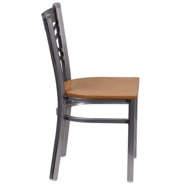 Lowest Price HERCULES Series Clear Coated ''X'' Back Metal Restaurant Chair - Natural Wood Seat