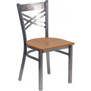 Wholesale HERCULES Series Clear Coated ''X'' Back Metal Restaurant Chair - Natural Wood Seat