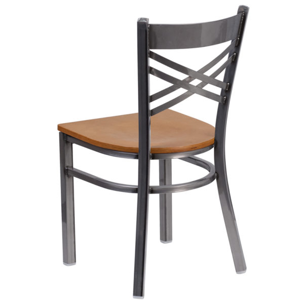 Metal Dining Chair Clear X Chair-Nat Seat