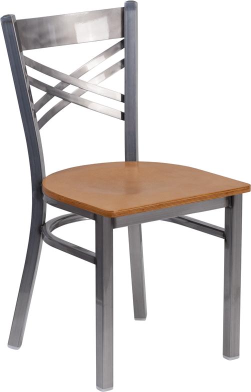 Wholesale HERCULES Series Clear Coated ''X'' Back Metal Restaurant Chair - Natural Wood Seat