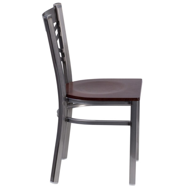 Lowest Price HERCULES Series Clear Coated ''X'' Back Metal Restaurant Chair - Walnut Wood Seat