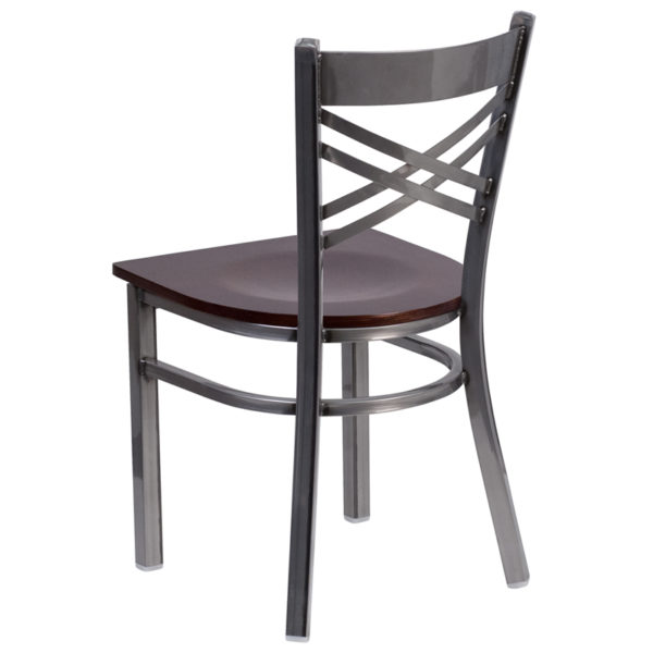 Metal Dining Chair Clear X Chair-Wal Seat