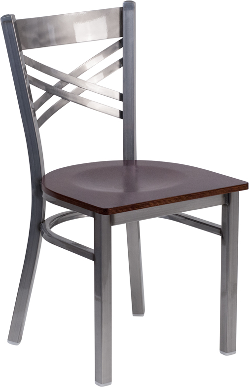 Wholesale HERCULES Series Clear Coated ''X'' Back Metal Restaurant Chair - Walnut Wood Seat