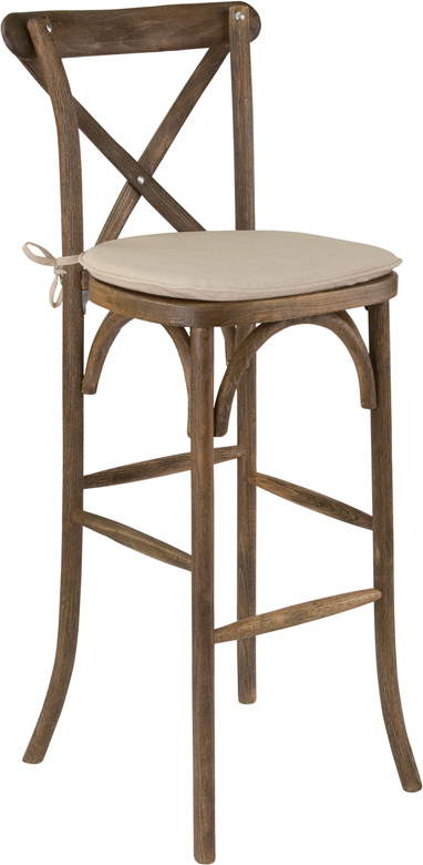 Wholesale HERCULES Series Dark Antique Wood Cross Back Barstool with Cushion
