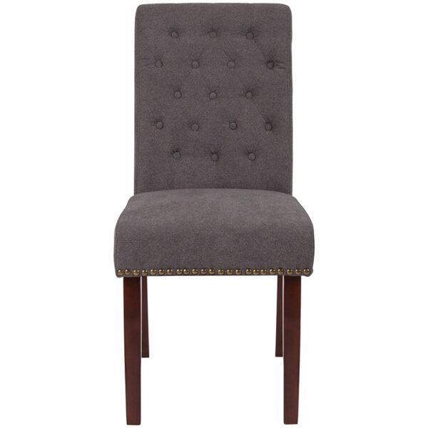 Mid-Century Style Dark Gray Fabric Parsons Chair