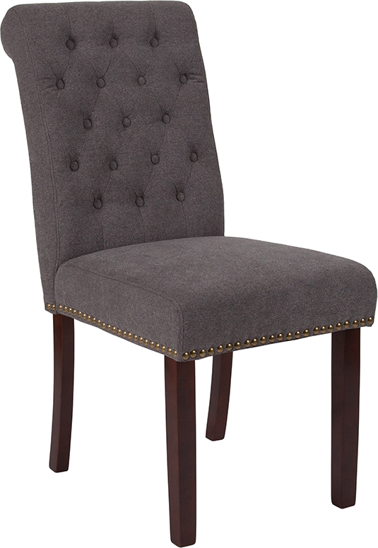 Wholesale HERCULES Series Dark Gray Fabric Parsons Chair with Rolled Back