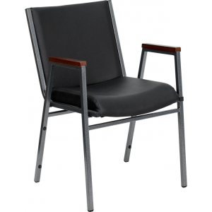 Wholesale HERCULES Series Heavy Duty Black Vinyl Stack Chair with Arms