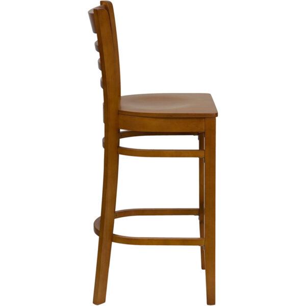 Lowest Price HERCULES Series Ladder Back Cherry Wood Restaurant Barstool