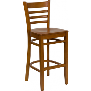 Wholesale HERCULES Series Ladder Back Cherry Wood Restaurant Barstool