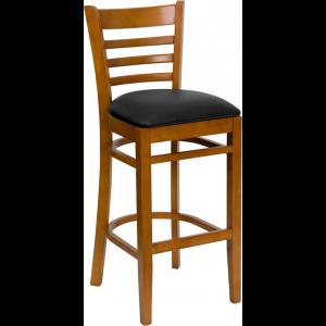 Wholesale HERCULES Series Ladder Back Cherry Wood Restaurant Barstool - Black Vinyl Seat