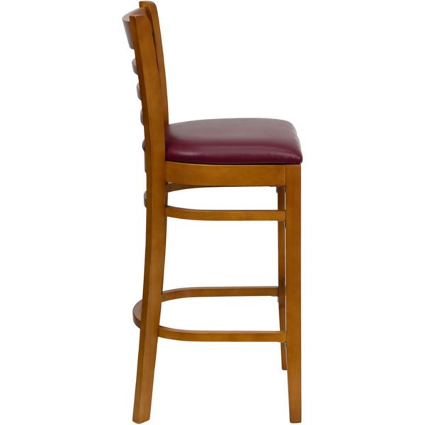 Lowest Price HERCULES Series Ladder Back Cherry Wood Restaurant Barstool - Burgundy Vinyl Seat