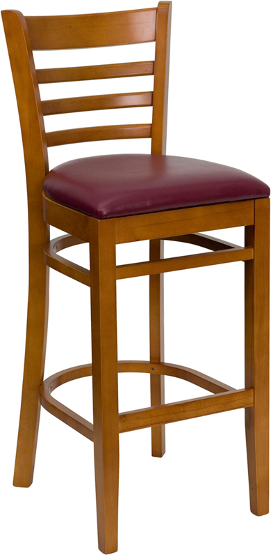 Wholesale HERCULES Series Ladder Back Cherry Wood Restaurant Barstool - Burgundy Vinyl Seat
