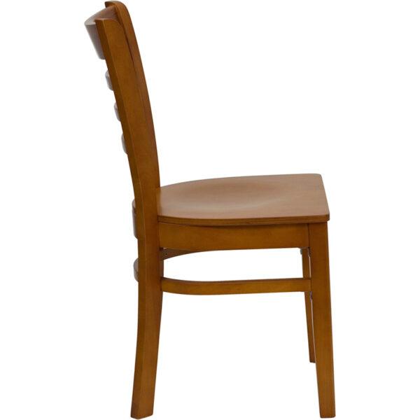 Lowest Price HERCULES Series Ladder Back Cherry Wood Restaurant Chair