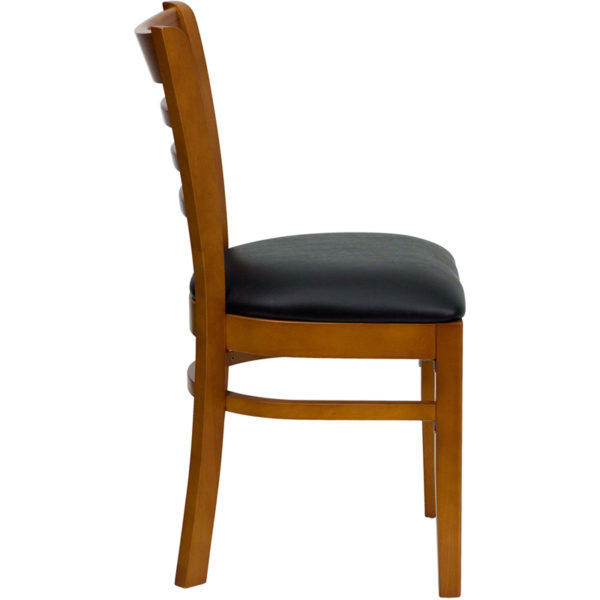 Lowest Price HERCULES Series Ladder Back Cherry Wood Restaurant Chair - Black Vinyl Seat