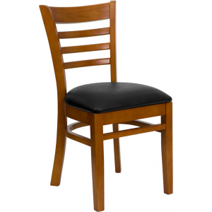 Wholesale HERCULES Series Ladder Back Cherry Wood Restaurant Chair - Black Vinyl Seat