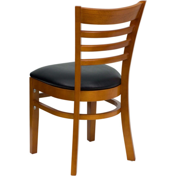 Wood Dining Chair Cherry Wood Chair-Blk Vinyl