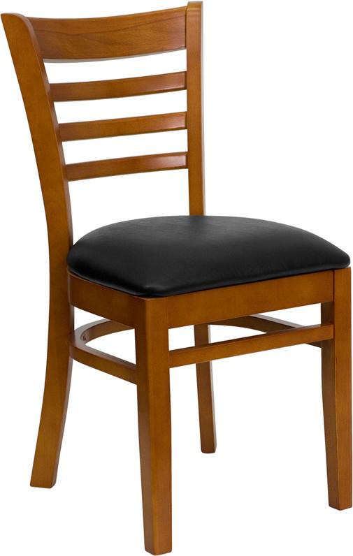 Wholesale HERCULES Series Ladder Back Cherry Wood Restaurant Chair - Black Vinyl Seat