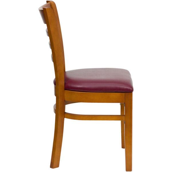 Lowest Price HERCULES Series Ladder Back Cherry Wood Restaurant Chair - Burgundy Vinyl Seat