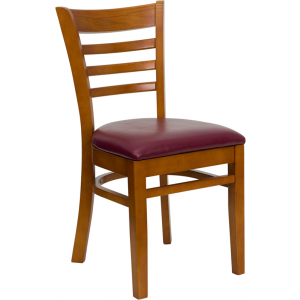 Wholesale HERCULES Series Ladder Back Cherry Wood Restaurant Chair - Burgundy Vinyl Seat