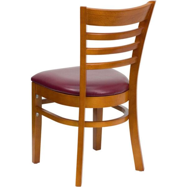 Wood Dining Chair Cherry Wood Chair-Burg Vinyl