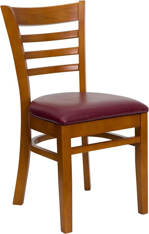 Wholesale HERCULES Series Ladder Back Cherry Wood Restaurant Chair - Burgundy Vinyl Seat