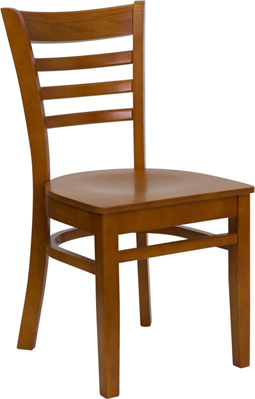 Wholesale HERCULES Series Ladder Back Cherry Wood Restaurant Chair