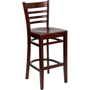 Wholesale HERCULES Series Ladder Back Mahogany Wood Restaurant Barstool
