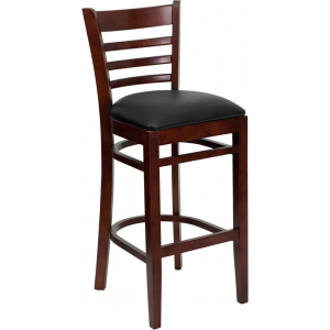 Wholesale HERCULES Series Ladder Back Mahogany Wood Restaurant Barstool - Black Vinyl Seat