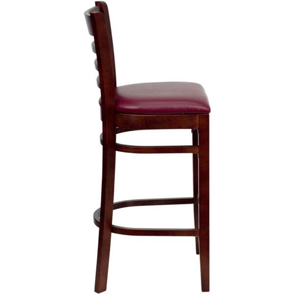 Lowest Price HERCULES Series Ladder Back Mahogany Wood Restaurant Barstool - Burgundy Vinyl Seat
