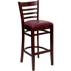 Wholesale HERCULES Series Ladder Back Mahogany Wood Restaurant Barstool - Burgundy Vinyl Seat