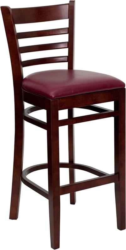 Wholesale HERCULES Series Ladder Back Mahogany Wood Restaurant Barstool - Burgundy Vinyl Seat