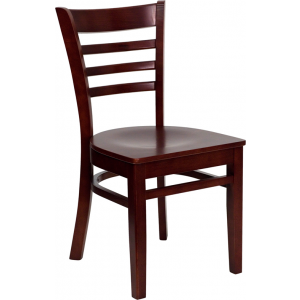 Wholesale HERCULES Series Ladder Back Mahogany Wood Restaurant Chair