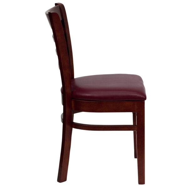 Lowest Price HERCULES Series Ladder Back Mahogany Wood Restaurant Chair - Burgundy Vinyl Seat