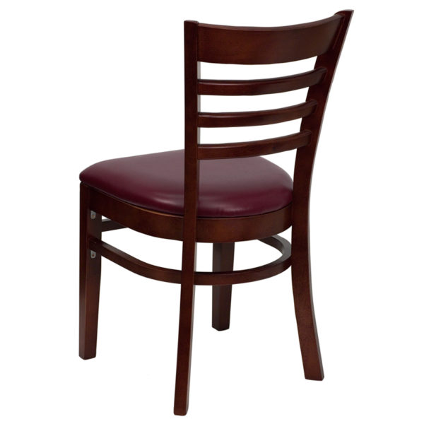 Wood Dining Chair Mahogany Wood Chair-Burg Vinyl