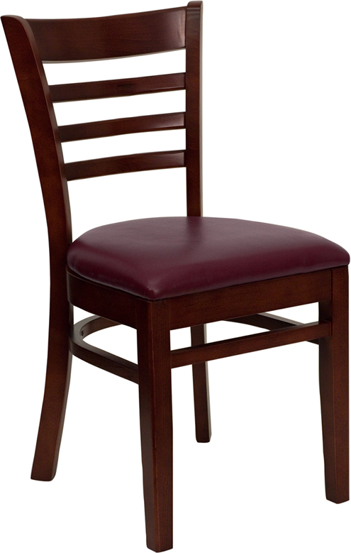 Wholesale HERCULES Series Ladder Back Mahogany Wood Restaurant Chair - Burgundy Vinyl Seat